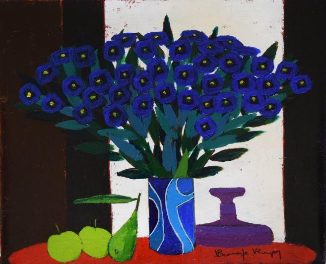 『赤い丸テーブルの静物』ロジェ・ボナフェ/Roger Bonafe