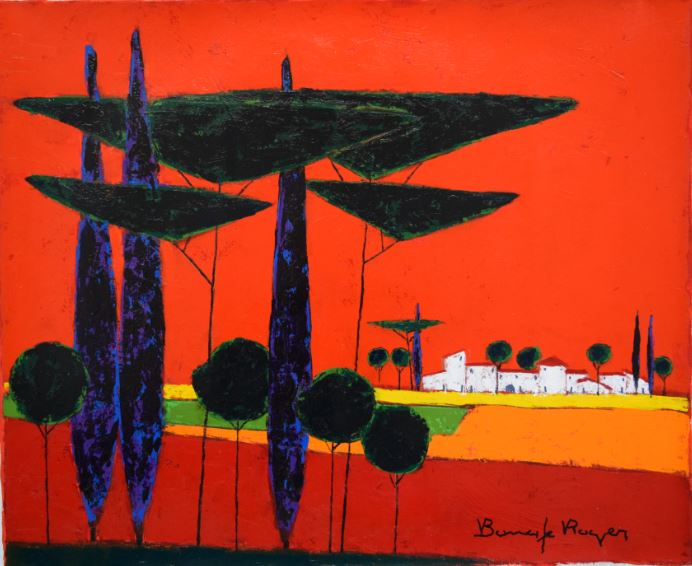『松林のはずれ、菜の花畑の農家』ロジェ・ボナフェ/Roger Bonafe
