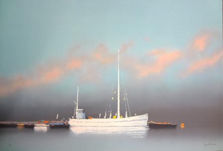 『夕焼の中の帆船(青い海の予感)』ピェール・ドートルロー/Pierre Doutreleau