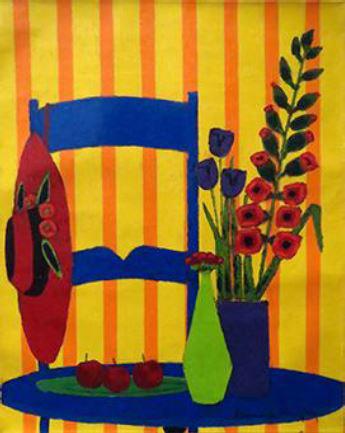『花飾りの帽子、一輪挿し、チューリップとグラジオラス』ロジェ・ボナフェ/Roger Bonafe