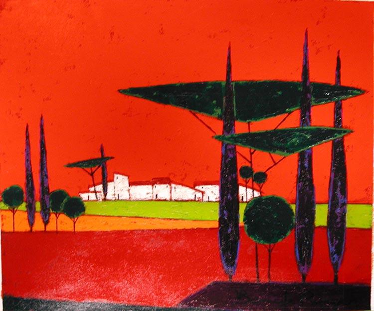 『木々の向こうの大きな農家』ロジェ・ボナフェ/Roger Bonafe