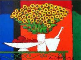 『黄色いブーケと白い器』ロジェ・ボナフェ/Roger Bonafe
