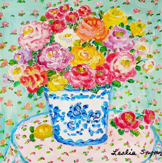 『Blue Meissen with Roses』レスリー・セイヤー/Leslie Sayour