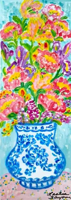 『Mixes Bouquet in Blue Vase』レスリー・セイヤー/Leslie Sayour