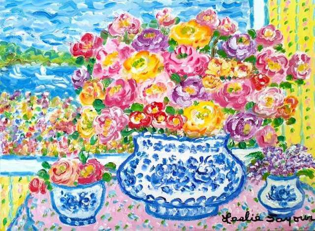 『Roses in Blue Meissen』レスリー・セイヤー/Leslie Sayour
