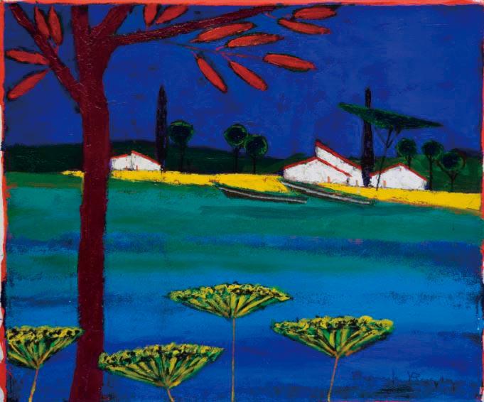 『赤い木、小屋、池のオンベル』ロジェ・ボナフェ/Roger Bonafe