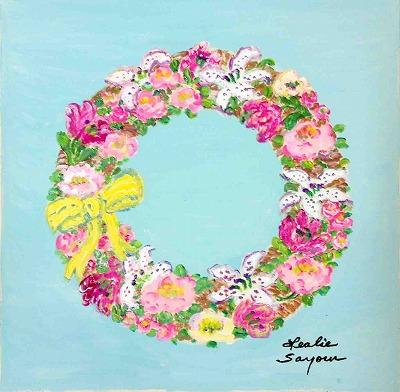 『ピンクアンドホワイトフラワードリース』レスリー・セイヤー/Leslie Sayour